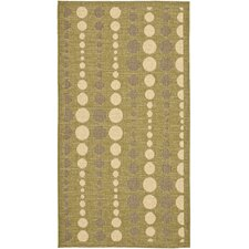 Courtyard Creme / Olive Outdoor Area Rug