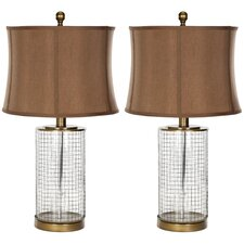 """Cage 26.5"""" H Table Lamp with Oval Shade (Set of 2)"""