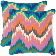 Dripping Stiches Neon Cotton Throw Pillow (Set of 2)