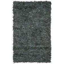 Leather Shag Grey Rug