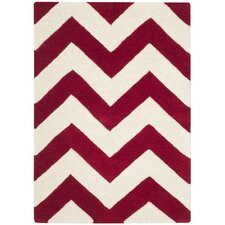 Chatham Red & Ivory Chevron Area Rug
