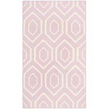 Dhurries Pink & Ivory Area Rug