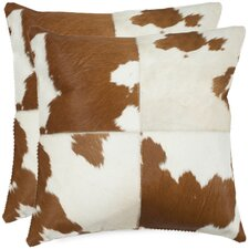 Carley Cowhide Throw Pillow (Set of 2)