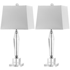 "Aiden Faceted 28"" H Table Lamp with Empire Shade (Set of 2)"
