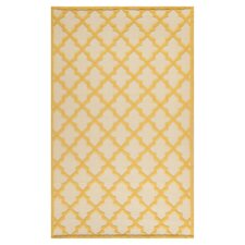 Martha Stewart Puzzle Floral Ivory/Gold Outdoor Area Rug