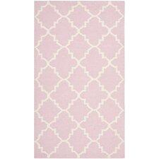 Dhurries Pink/Ivory Area Rug