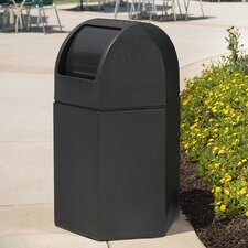 PolyTec 45-Gal Hex Waste Container with Dome Lid
