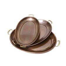 Décor 3 Piece Antique Copper Oval Serving Tray Set