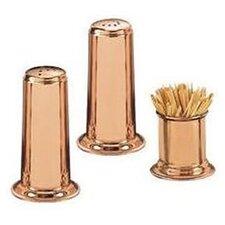 3 Piece Solid Copper Salt & Pepper Set with Toothpick Holder