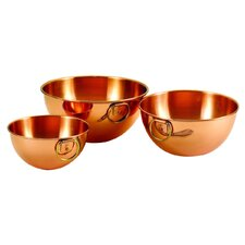3 Piece Copper Beating Bowl Set