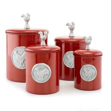 Red Rooster 4-Piece Canister Set