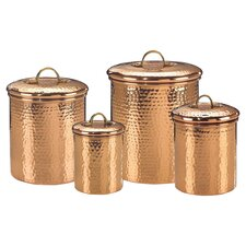 Hammered 4 Piece Copper Canister Set