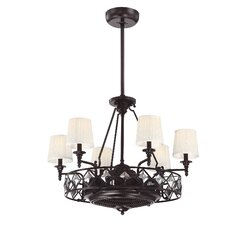 Cambria 6 Light Air Ionizing d'Lier Ceiling Fan