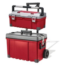 Pro Storage Plastic Portable Rolling Tool Box & Utility Cart