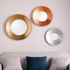 Dracen 3 Piece Metallic Wall Mirror Set