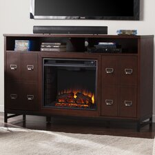 Rachtman Media Stand in Espresso Electric Fireplace