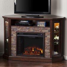 Rupert Faux Stone Corner Convertible Electric Fireplace