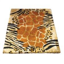 Animal Black/Brown Safari Print Area Rug