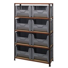Boltless Particle Board Shelf with 8 Giant Bins (Complete Package)