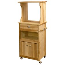 Microwave Cart with Butcher Block Top