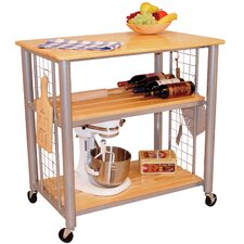 Contemporary Kitchen Cart with Butcher Block Top