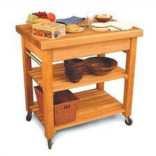 French Country Kitchen Island with Butcher Block Top