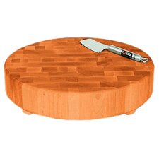 Round Slab End Grain Chopping Block with Feet