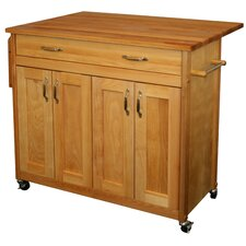 Mid Size Kitchen Island with Wood Top