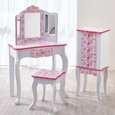 Light Pink Giraffe Print Fashion Prints Vanity Set with Mirror