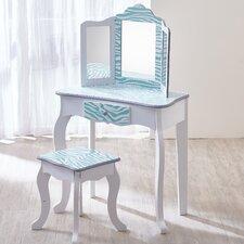 Aqua Blue Zebra Print Fashion Prints Vanity Set with Mirror