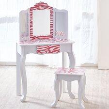Hot Pink Zebra Print Fashion Prints Vanity Set with Mirror