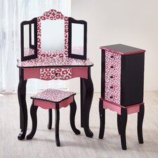 Hot Pink Leopard Print Fashion Prints Vanity Set with Mirror