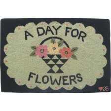 A Day For Flowers Green Area Rug