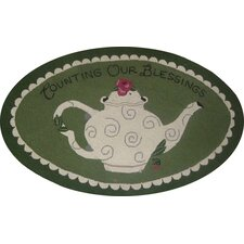"""Counting Our Blessings Oval: 2'6"""" x 4' - Green Rug"""