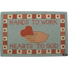 Heart in Hand Blue Area Rug