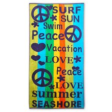 Superior Oversized Jacquard Cotton Peace and Love Beach Towel