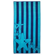 Superior Oversize Jacquard Cotton Stripes with Starfish Beach Towel