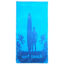 Superior Oversize Jacquard Cotton Surfer and Palm Trees Beach Towel