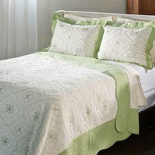 Embroidered 100 Percent Cotton Quilt Set in Sage