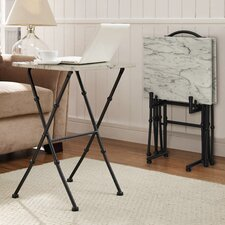 Kildare 4 Piece Marble Tray Table Set