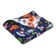 Robots in Space Cotton Throw Blanket