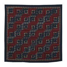 Red Log Cabin Cotton Shower Curtain