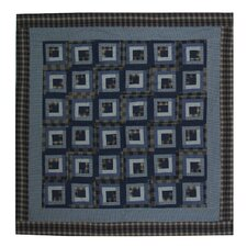 Blue Log Cabin Cotton Shower Curtain