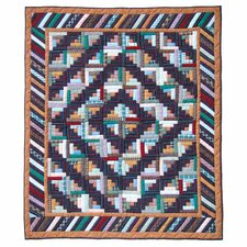 Dusty Diamond Log Cabin Cotton Throw Quilt