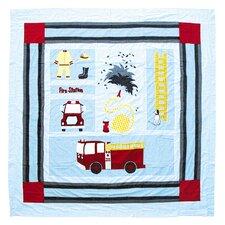 Fire Truck Cotton Shower Curtain