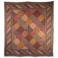 Harvest Log Cabin Cotton Throw Quilt