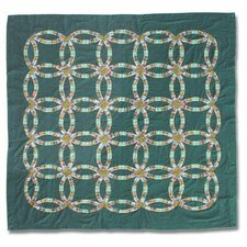 Green Double Wedding Ring Cotton Shower Curtain