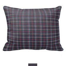 Grey and Navy Blue Plaid Red Lines Pillow Sham