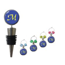 5 Piece Wine Stopper and Wine Charm Set