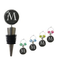 5 Piece Marble Wine Stopper and Wine Charm Set